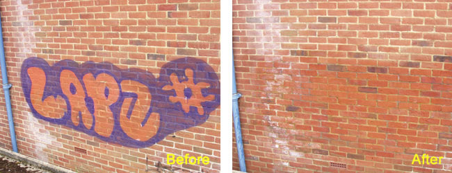 Spray Paint Graffiti Removed from Brick