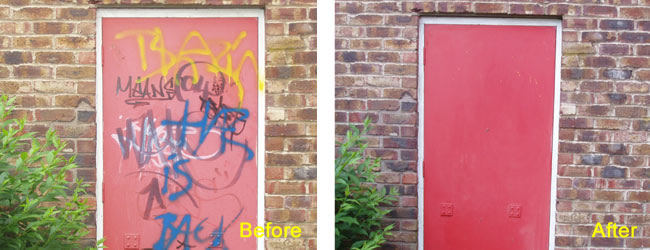 Spray Paint Graffiti Removed from Painted Door